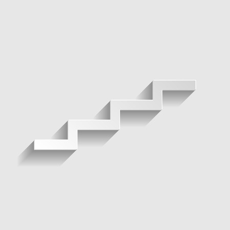 up stair: Stair up sign. Paper style icon with shadow on gray. Illustration