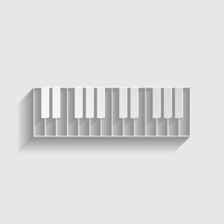clavier: Piano Keyboard  sign. Paper style icon with shadow on gray.