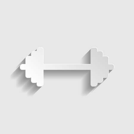 heavy load: Dumbbell weights sign. Paper style icon with shadow on gray. Illustration