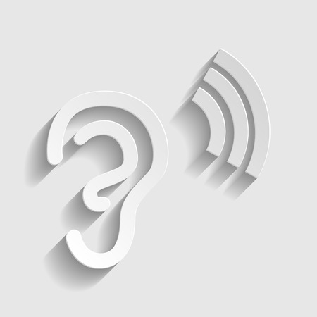 listener: Human ear sign. Paper style icon with shadow on gray.