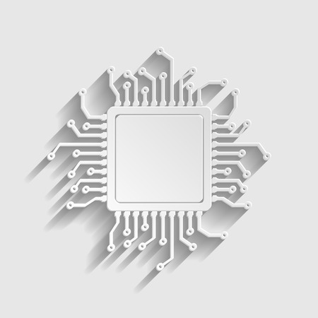 chipset: CPU Microprocesso. Paper style icon with shadow on gray. Illustration