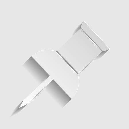 paper pin: Pin push sign. Paper style icon with shadow on gray.