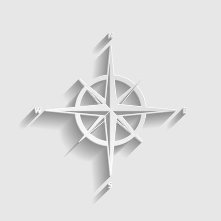 wind rose: Wind rose sign. Paper style icon with shadow on gray. Illustration