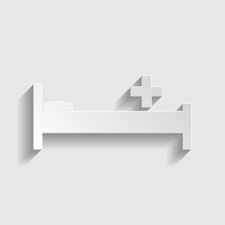 surgery stretcher: Hospital sign. Paper style icon with shadow on gray. Illustration