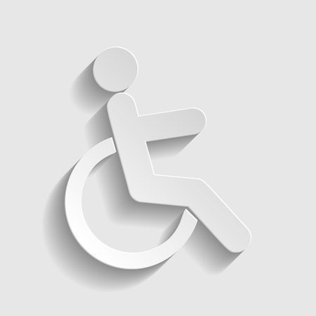 disabled sign: Disabled sign. Paper style icon with shadow on gray. Illustration