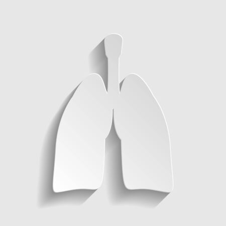 pulmones: Human organs. Lungs sign. Paper style icon with shadow on gray.