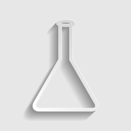 conical: Conical Flask sign. Paper style icon with shadow on gray.