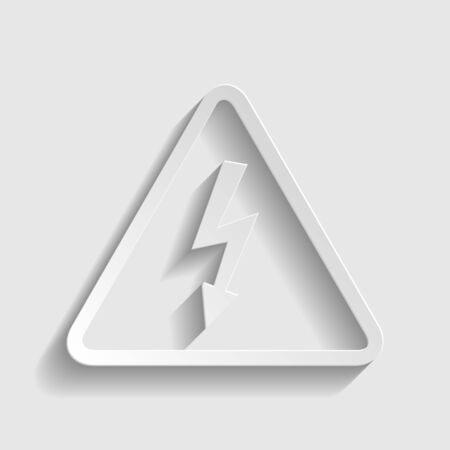volte: High voltage danger sign. Paper style icon with shadow on gray. Illustration
