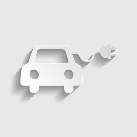 echnology: Eco electrocar sign. Paper style icon with shadow on gray.