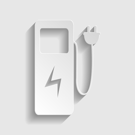 zero emission: Electric car charging station sign. Paper style icon with shadow on gray.