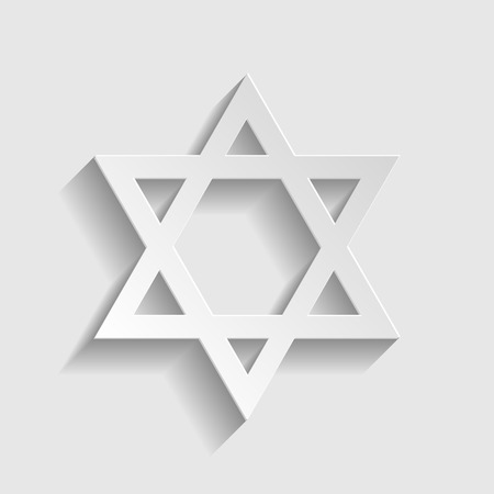 magen david: Star. Shield Magen David. Symbol of Israel on transparent background. Paper style icon with shadow on gray.
