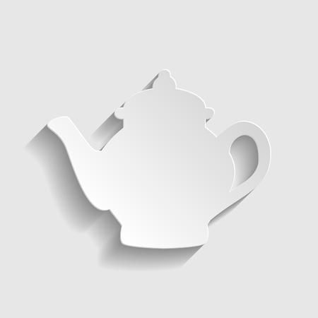 sign maker: Tea maker sign. Paper style icon with shadow on gray.