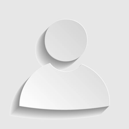 User sign. Paper style icon with shadow on gray.