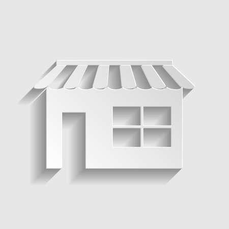 urbanization: Store sign. Paper style icon with shadow on gray.