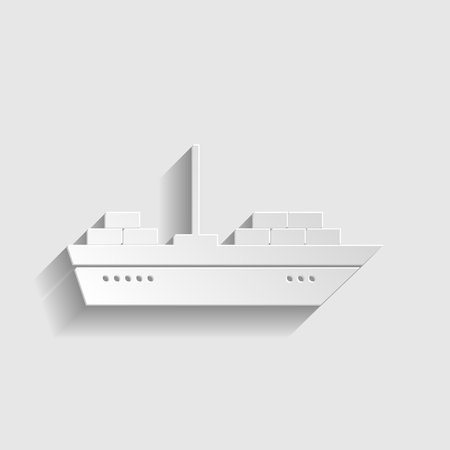 inflate boat: Ship sign. Paper style icon with shadow on gray.
