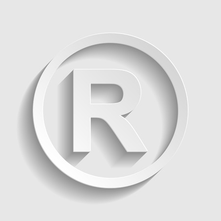 copyright symbol: Registered Trademark sign. Paper style icon with shadow on gray.