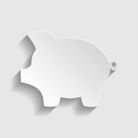 moneyed: Pig money bank sign. Paper style icon with shadow on gray. Illustration