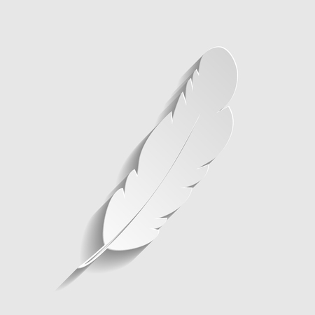 Feather sign. Paper style icon with shadow on gray.