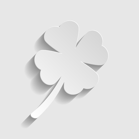 irish culture: Leaf clover sign. Paper style icon with shadow on gray. Illustration
