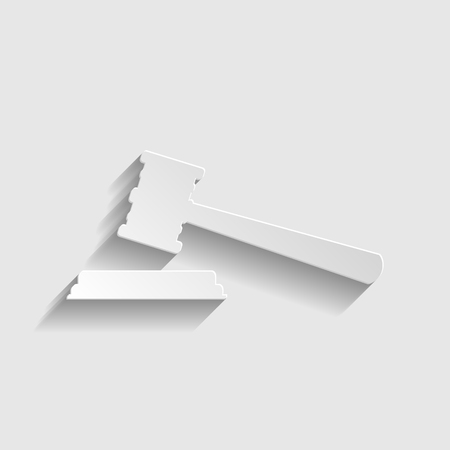 auctioneer: Justice hammer sign. Paper style icon with shadow on gray. Illustration