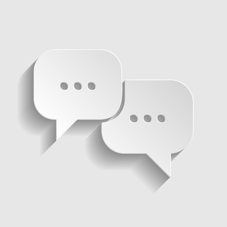 html5: Speech bubbles sign. Paper style icon with shadow on gray.