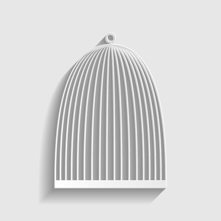 captivity: Bird cage sign. Paper style icon with shadow on gray.