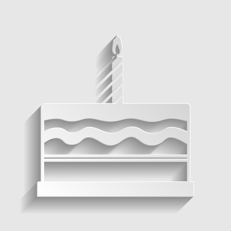 birthday cakes: Birthday cake sign. Paper style icon with shadow on gray.