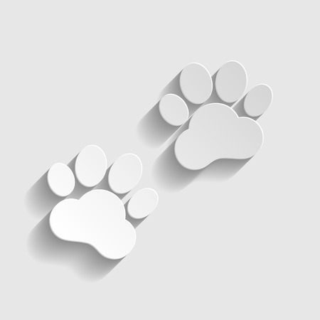 animal tracks: Animal Tracks sign. Paper style icon with shadow on gray. Vectores