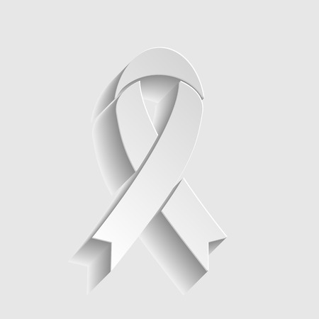 substance abuse awareness: Black awareness ribbon sign. Paper style icon with shadow on gray. Illustration