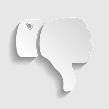 disapprove: Hand sign. Paper style icon with shadow on gray.