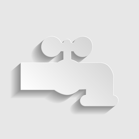 spew: Water faucet sign. Paper style icon with shadow on gray. Illustration