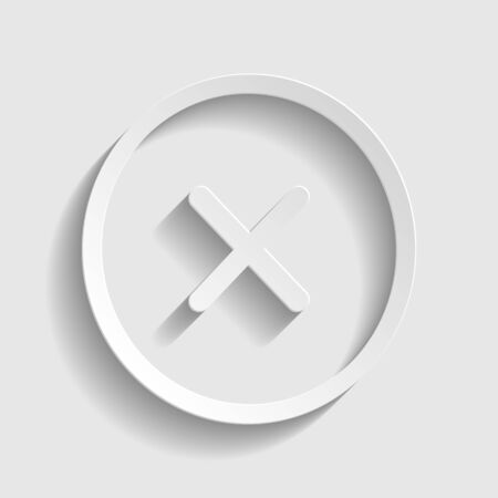 voted: Cross sign. Paper style icon with shadow on gray.