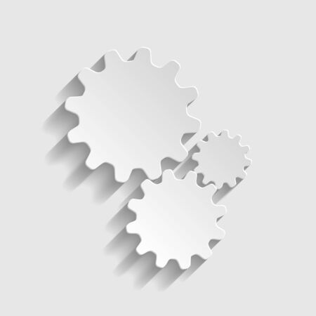 wheel change: Settings sign. Paper style icon with shadow on gray. Illustration