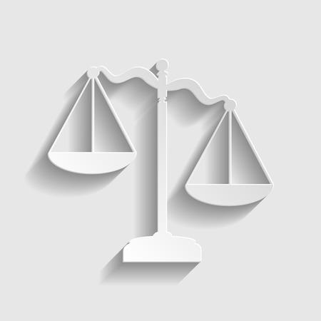 Échelles de justice signent. Papier icône de style avec l'ombre sur le gris.