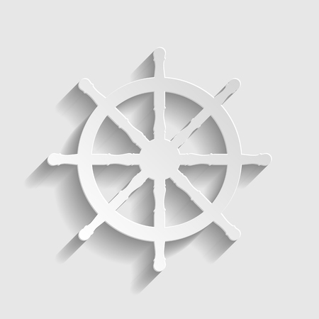schooner: Ship wheel sign. Paper style icon with shadow on gray. Illustration