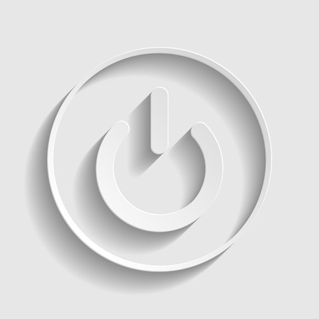 power button: On Off switch sign. Paper style icon with shadow on gray.
