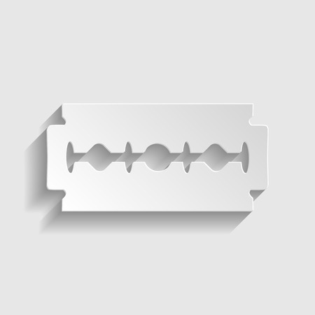 acute: Razor blade sign. Paper style icon with shadow on gray. Illustration