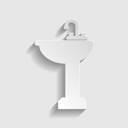 necessity: Bathroom sink sign. Paper style icon with shadow on gray.