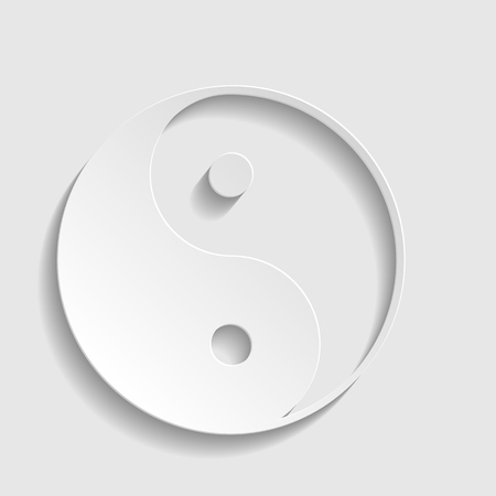 yang style: Ying yang symbol of harmony and balance. Paper style icon with shadow on gray.