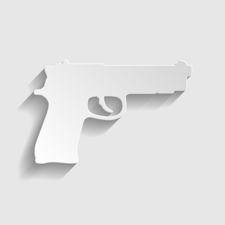 pistolas: Gun sign. Paper style icon with shadow on gray. Vectores