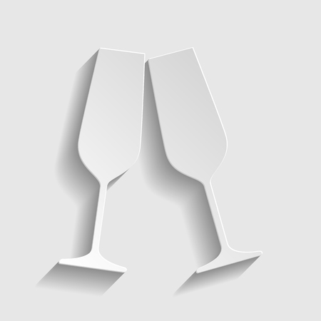 Sparkling champagne glasses. Paper style icon with shadow on gray.