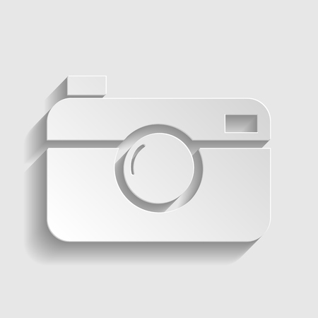 whim of fashion: Digital photo camera icon. Paper style icon with shadow on gray.