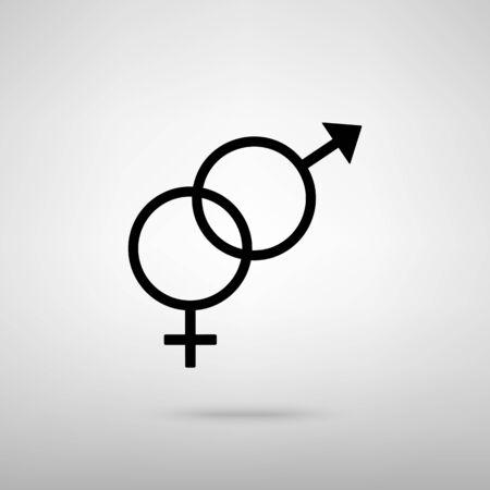 sex symbol: Sex symbol sign. Black with shadow on gray. Illustration