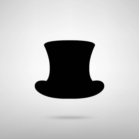 top black hat: Top hat sign. Black with shadow on gray. Illustration