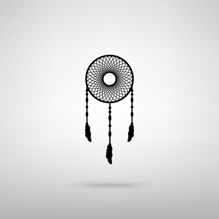 swelled: Dream catcher sign. Black with shadow on gray.
