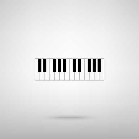 acoustically: Piano Keyboard  sign. Black with shadow on gray.