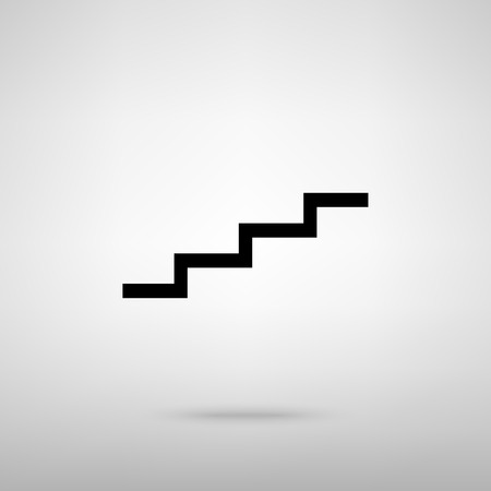 stair: Stair up sign. Black with shadow on gray.