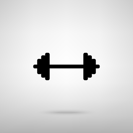 heavy load: Dumbbell weights sign. Black with shadow on gray. Illustration
