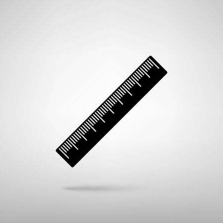 centimeter: Centimeter ruler sign. Black with shadow on gray.