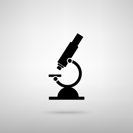 biochemical: Microscope sign. Black with shadow on gray.